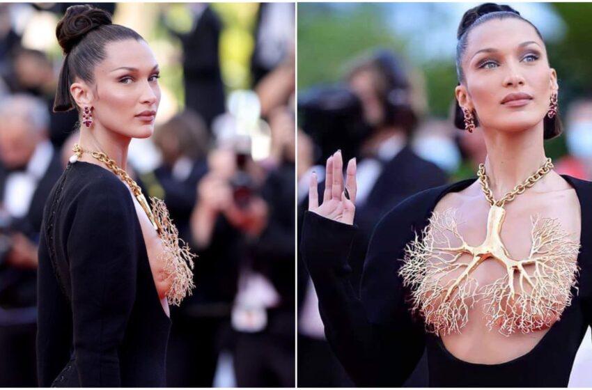Bella Hadid, la collana-scultura che copre il seno nudo infiamma il red carpet di Cannes