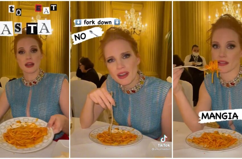 Roma, Jessica Chastain insegna agli americani come si mangia la pasta: il video è virale