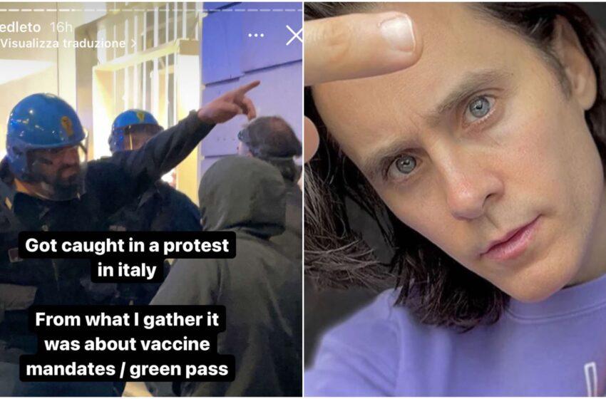 """Roma, Jared Leto coinvolto nel corteo No green Pass: """"Colpito dai lacrimogeni"""""""